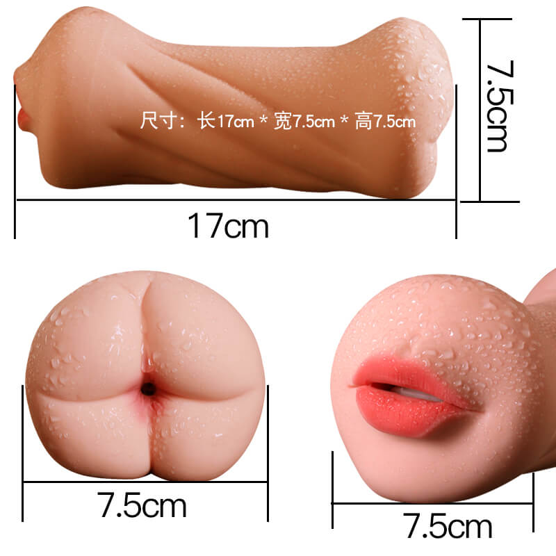 3D Dual Hole Anal Oral Pocket Pussy Realistic Silicone Masturbator For Men - Adult Toy