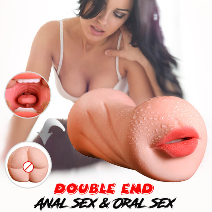 3D Dual Hole Anal Oral Pocket Pussy Realistic Silicone Masturbator For Men - Adult Toys