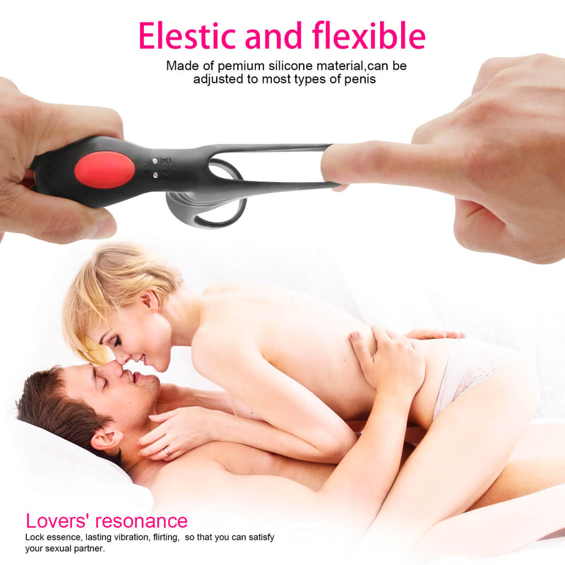 9 Vibration Modes Dual Loops Cock Ring Portable Electric Massage Toy - Adult Toys
