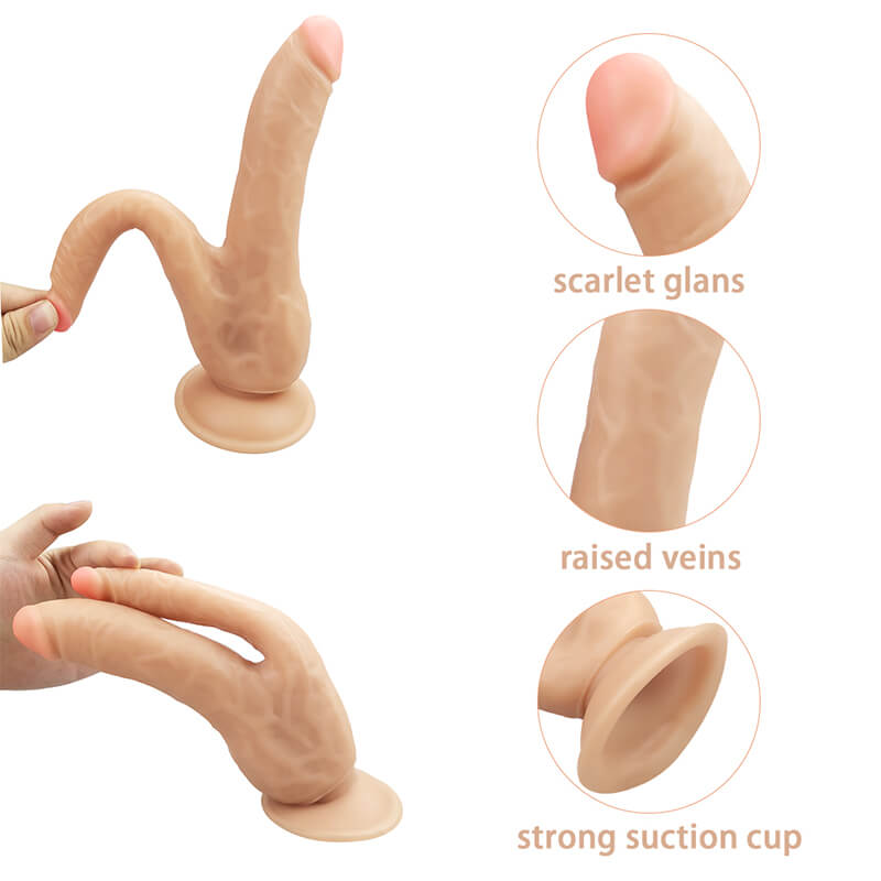 Silicone Double Flesh Colored Dildo Butt Plug For Lesbian
