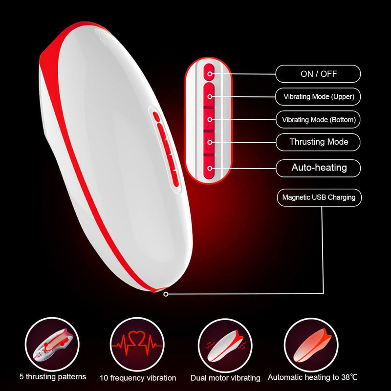 10 Powerful Vibrations Deep Throat Masturbator Smart Heating Waterproof Oral Cup - Adult Toys