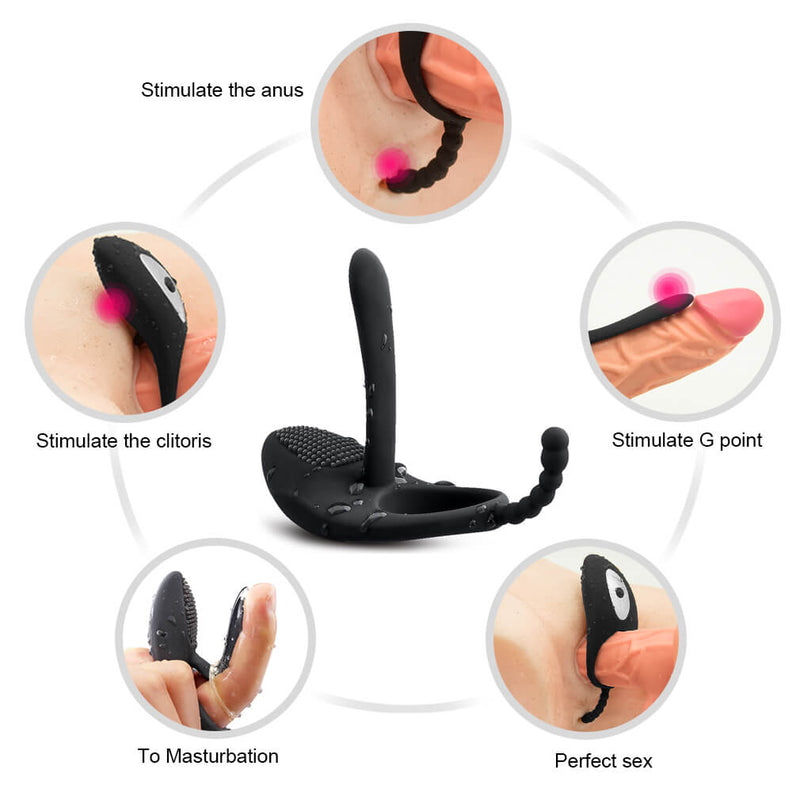 7 Kinds Vibrating Modes Penis Ring Anus Pussy Vibrator Toy For Men - Adult Toys