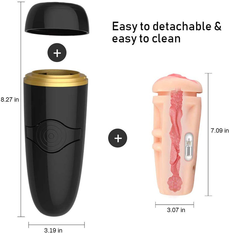 Detachable Pocket Pussy Sex Toy Vibrating Male Masturbator Cup - Adult Toys