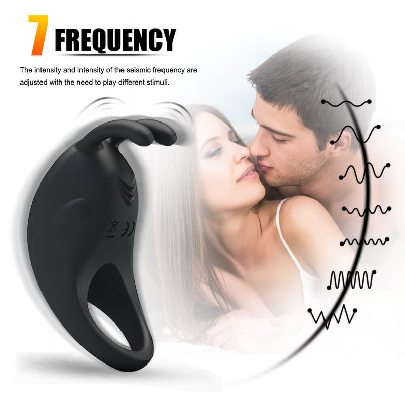 Fat Rabbit 7 Frequency Vibrating Penis Ring Sex Vibrator For Women - Adult Toys