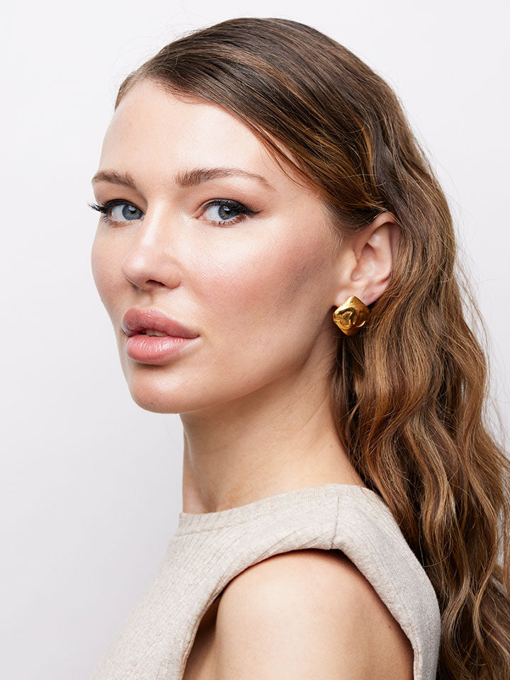 CHANEL Gold Plated CC Square Clip Earrings