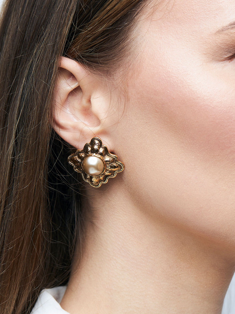 CHANEL Gold Plated Framed Pearl Earrings