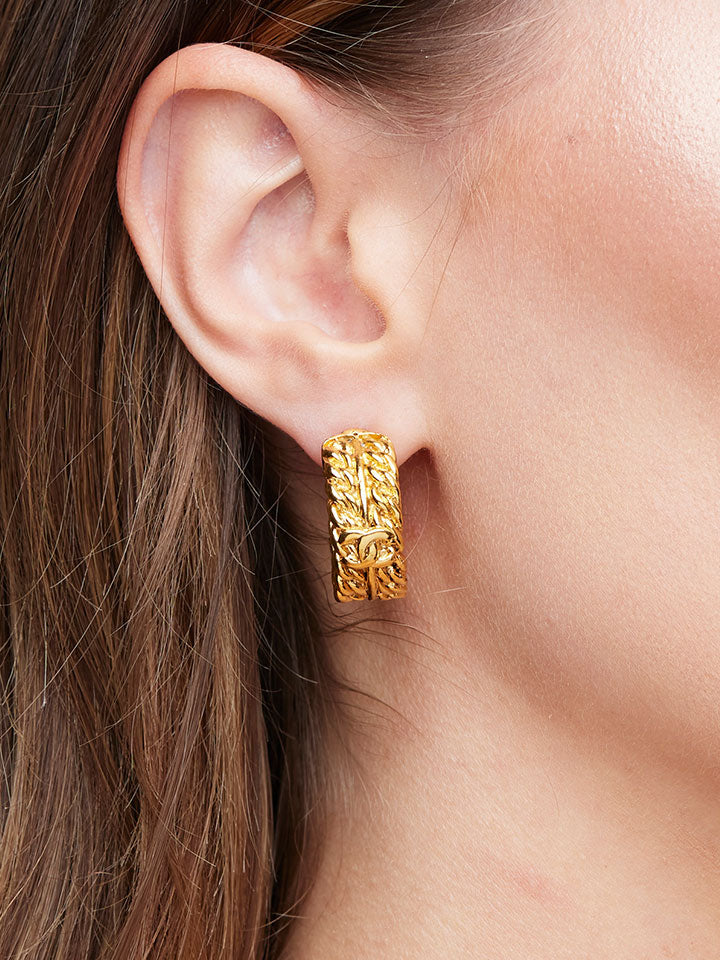 CHANEL Gold Hoop CC Earrings