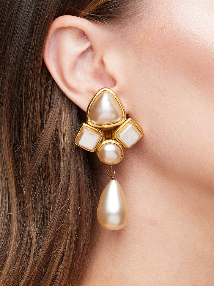 CHANEL Gold Plated Pearl Drop Earrings