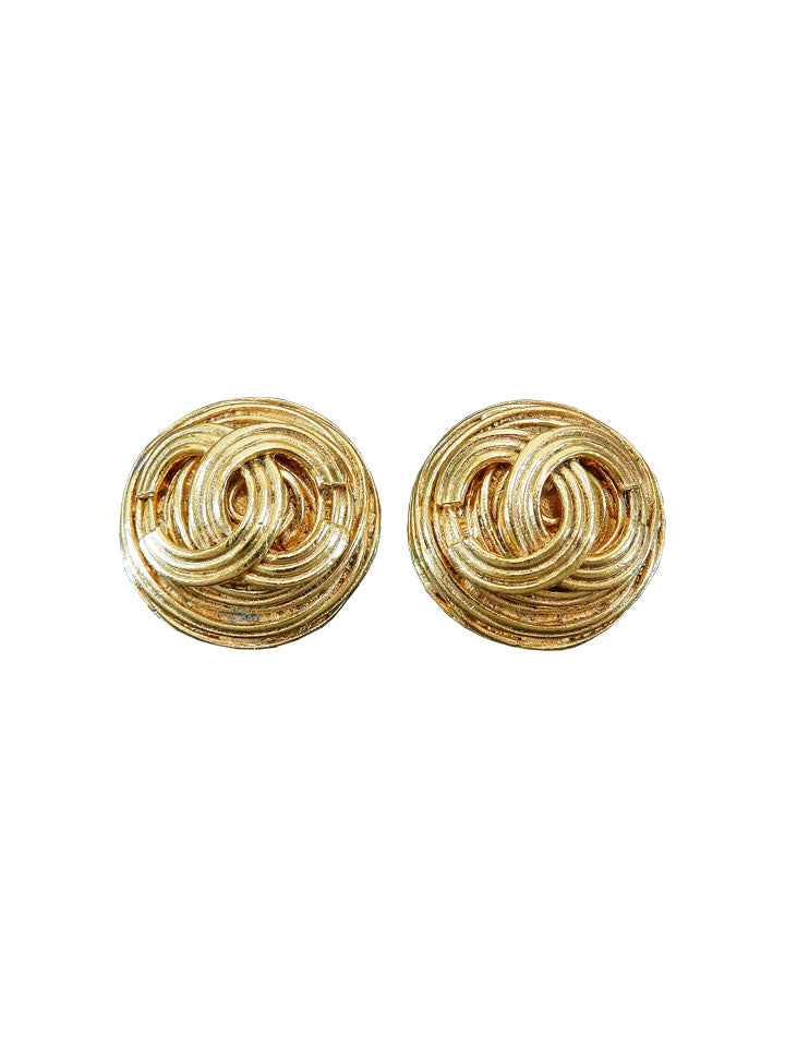 CHANEL Gold Plated CC Logo Textured Earrings