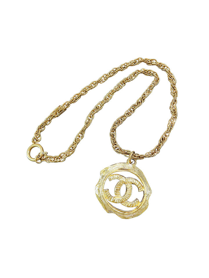 CHANEL Gold Plated CC Charm Necklace