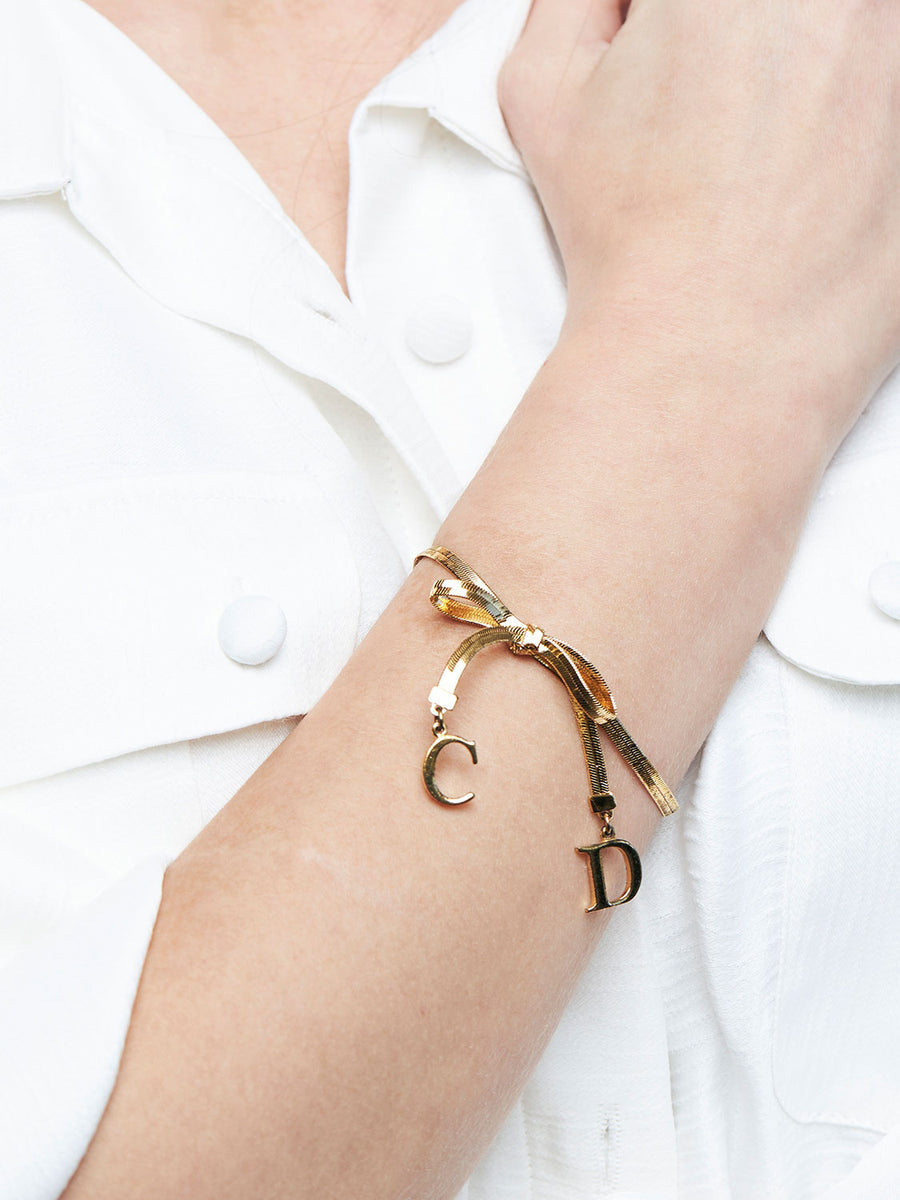 CHRISTIAN DIOR 'CD' Bow Bracelet