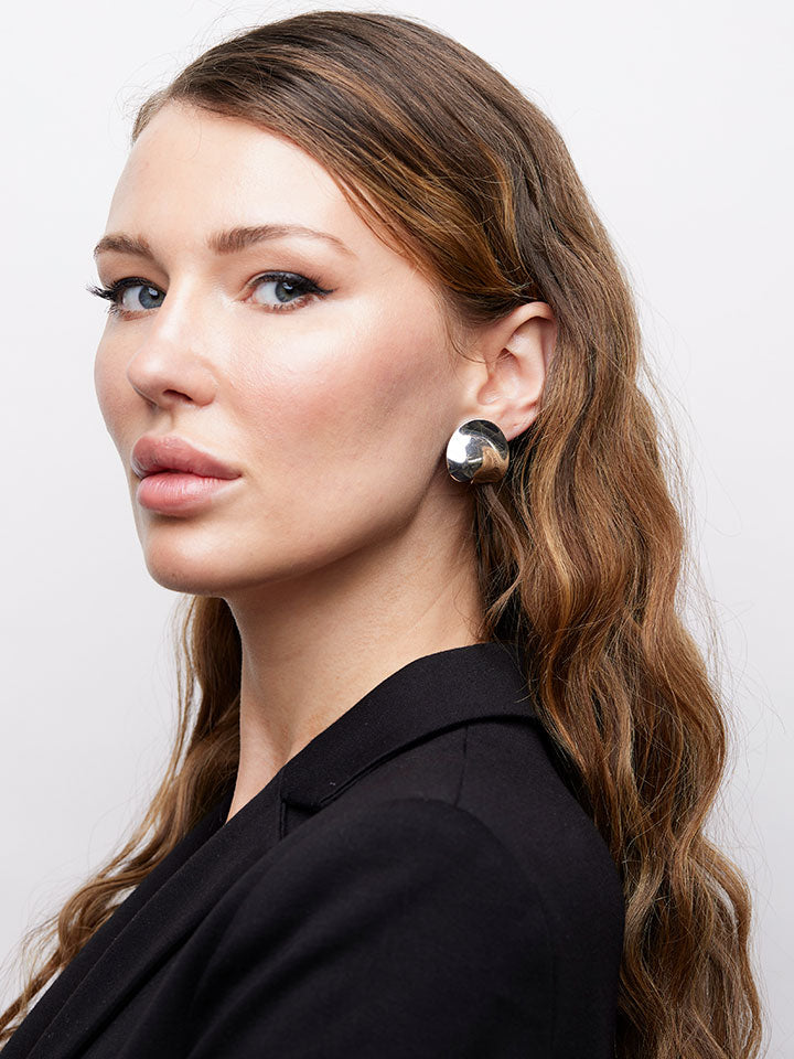 CHRISTIAN DIOR Silvertone Abstract Clip Earrings