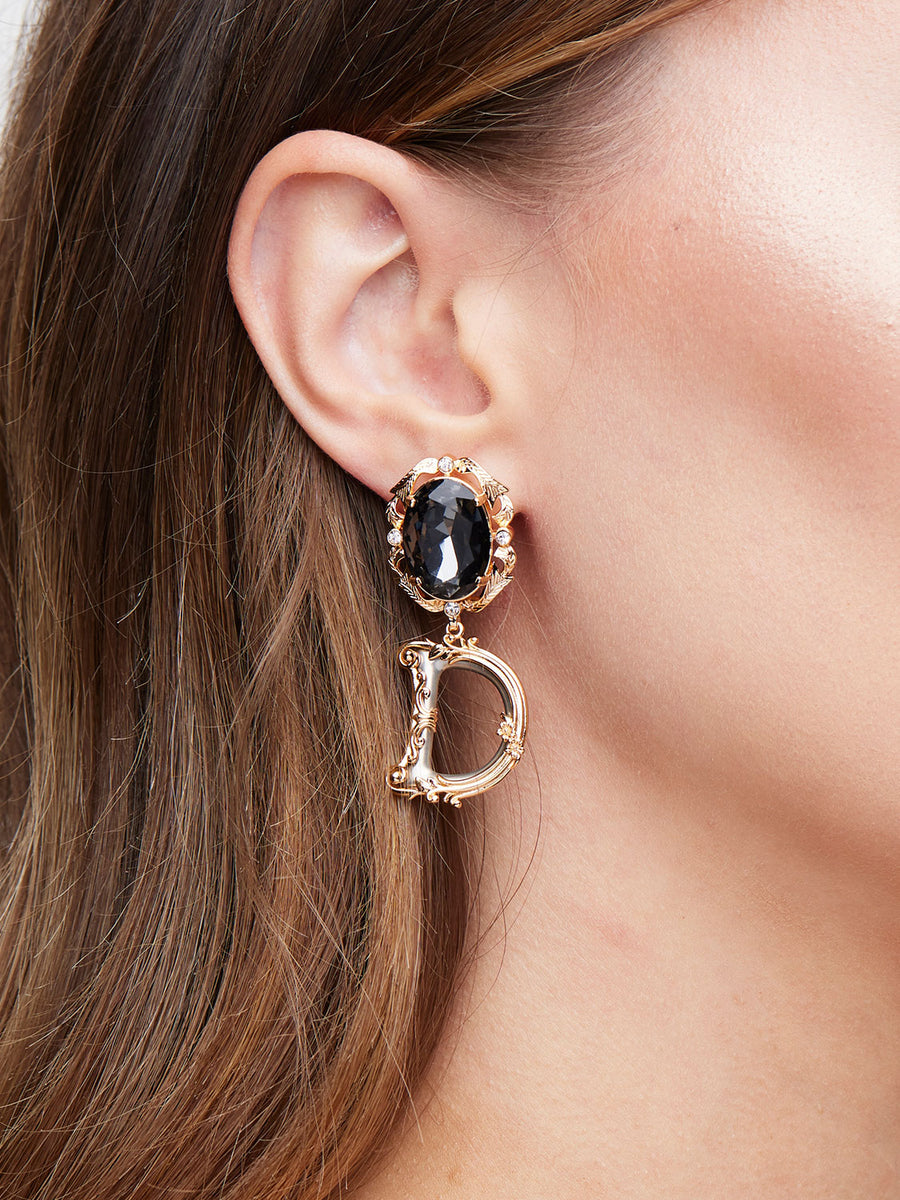 D&G Blue Rhinestone Logo Earrings Rental