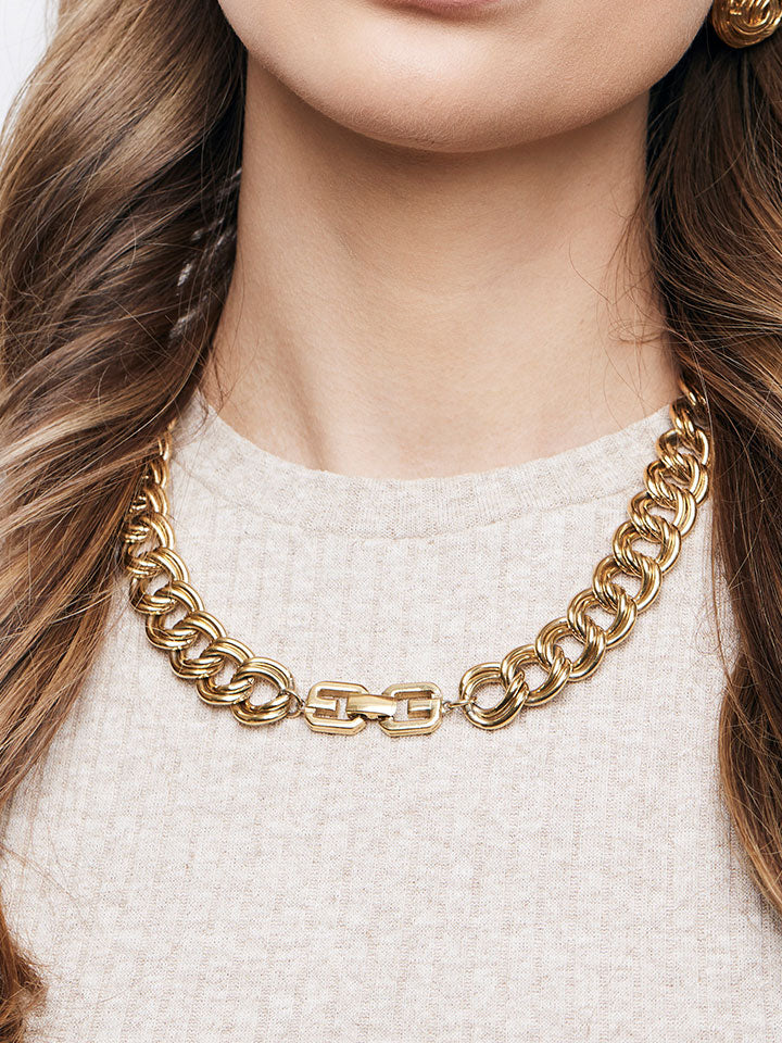 GIVENCHY Double Curb Goldtone Necklace
