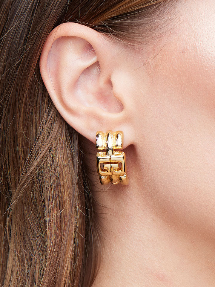 GIVENCHY Goldtone GG Clip Earrings