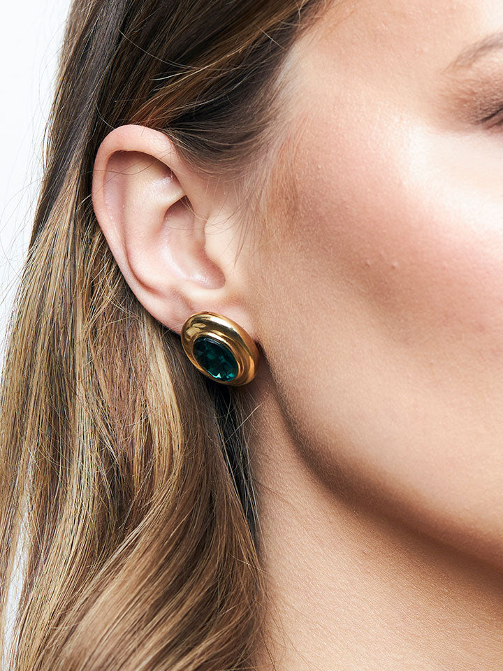GIVENCHY Green Stone Clip Earrings