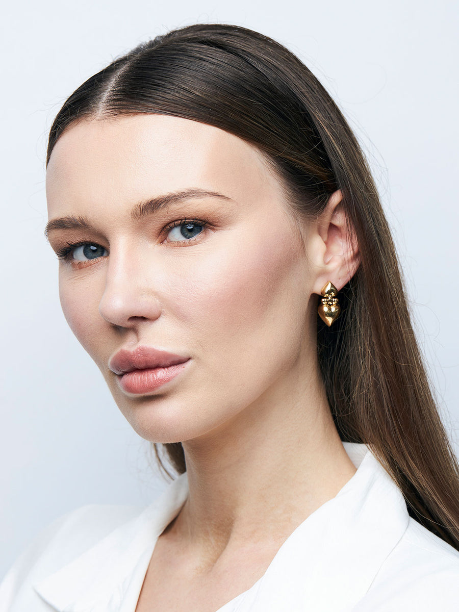 GIVENCHY Heart Drop Goldtone Earrings