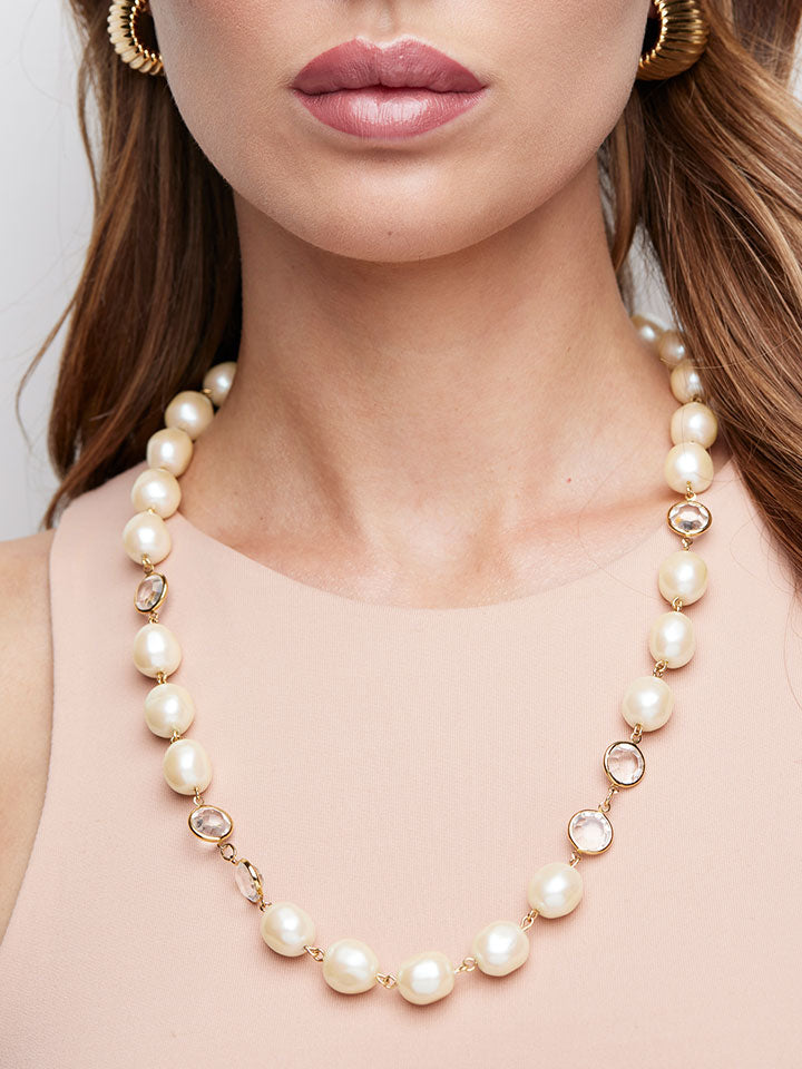 GIVENCHY Baroque Pearl and Crystal Necklace