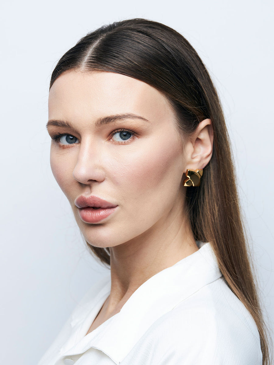 GIVENCHY Goldtone X Clip Earrings