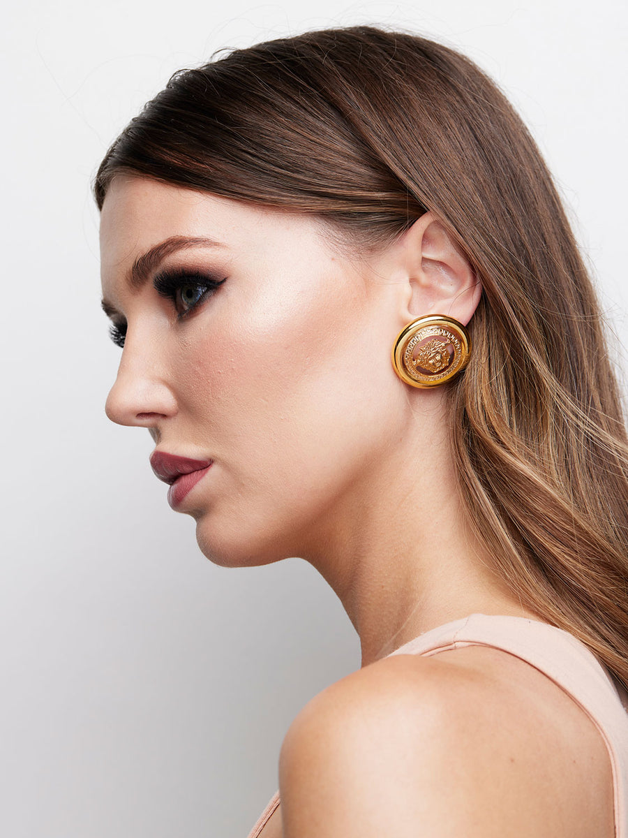 VERSACE Medusa Round Earrings Rental