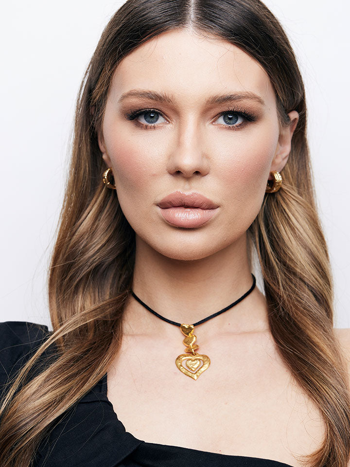 YSL Brushed Gold Heart Pendant Choker