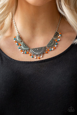 Boho Baby Necklace - Blue & Orange