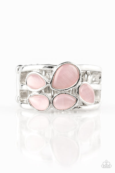 Dreamy Glow Ring - Pink Moonstone and Silver
