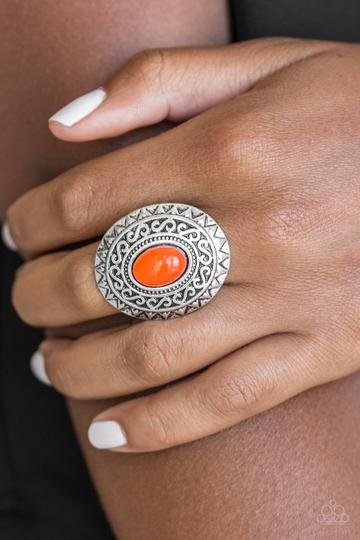 Hello Sunshine Ring - Orange & Silver