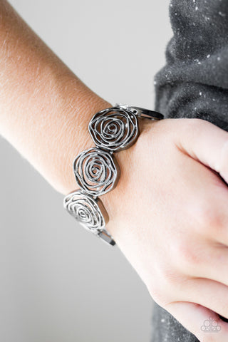 Beat Around The Rosebush Bracelet - Gun Metal Black
