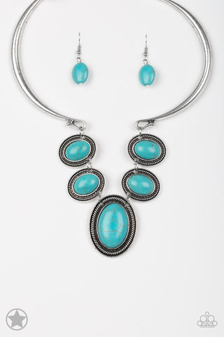 River Ride Necklace - Blue Turquoise & Silver (Blockbuster)