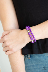 Colorful Collisions Bracelet - Purple & Silver Stretch