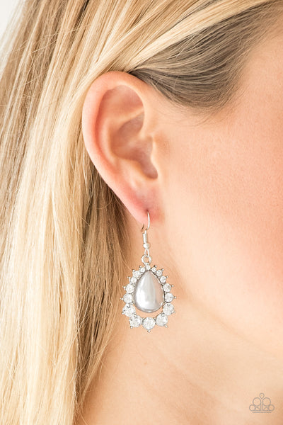 Regal Renewal Earrings - White Pearl & Gems