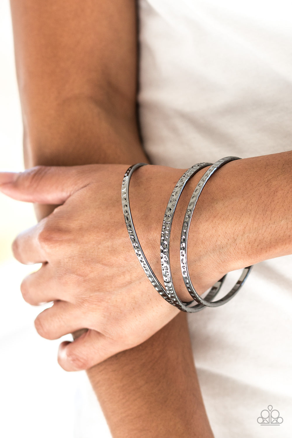 Casually Couture Bangle Bracelets - Black Gunmetal