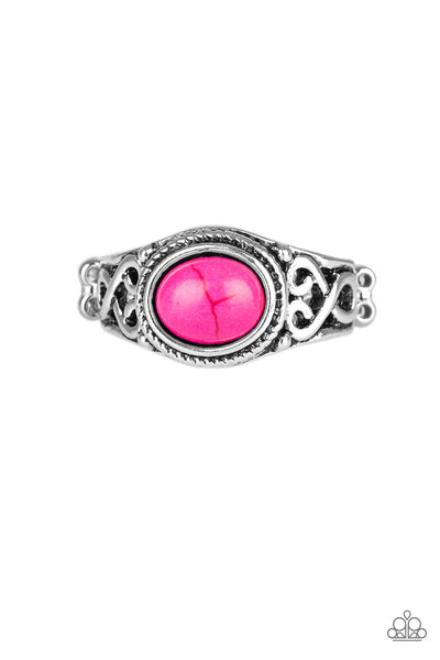 Set In Stone Ring - Pink & Silver