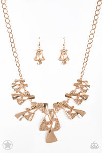 The Sands of Time Necklace - Peach Rhinestones and Gold