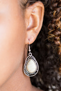 Abstract Anthropology Earrings - White and Silver