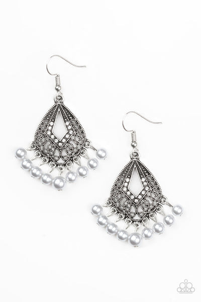 Gracefully Gatsby Earrings - White Pearl & Silver