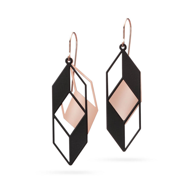 OPTICAL ILLUSION | rosegold / black - Ausgefallener Designerschmuck, bracelets/Armbänder, earrings/Ohrringe, necklaces/Ketten