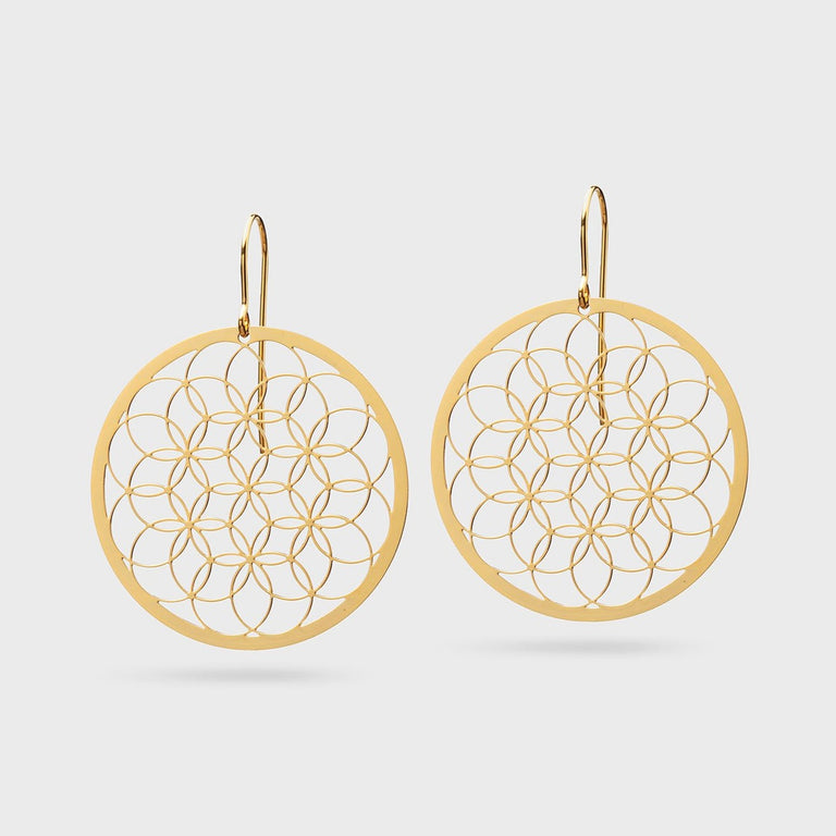 FLOWER OF LIFE V3 | LEBENSBLUME | brass gold plated - Ausgefallener Designerschmuck, bracelets/Armbänder, earrings/Ohrringe, necklaces/Ketten