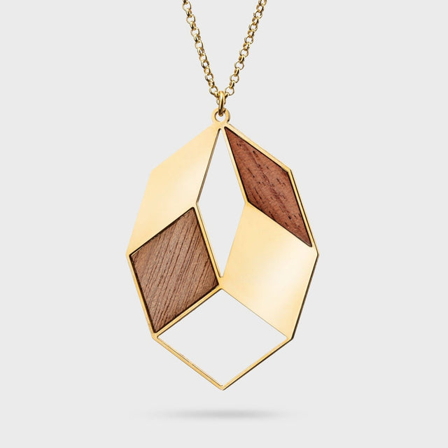 AUTUMN LEAVE | gold plated brass with wood inlays