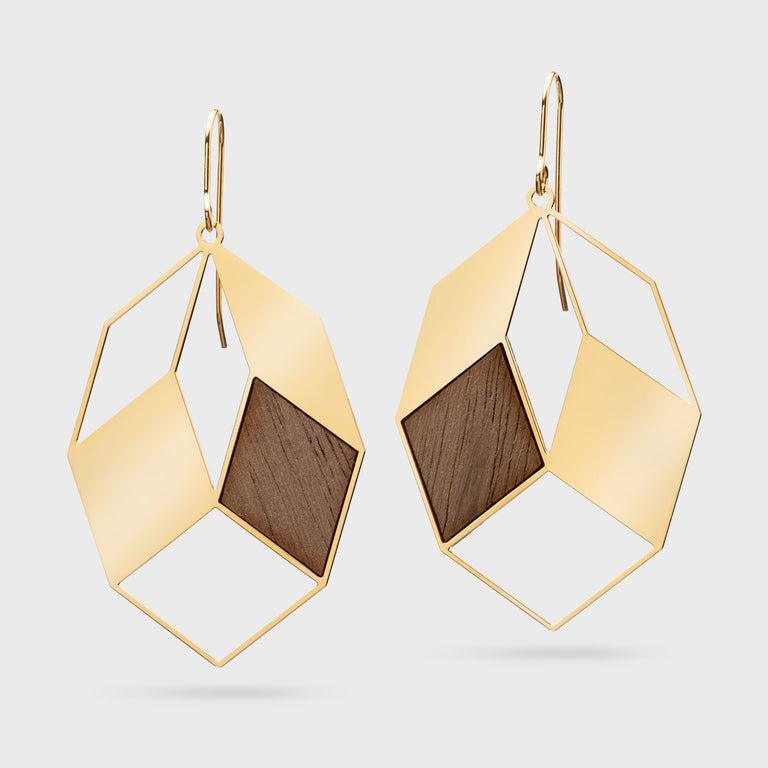 AUTUMN LEAVES | brass gold plated with wood inlays