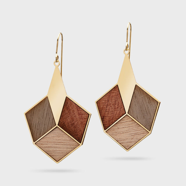 AUTUMN FRUITS | brass gold plated with wood inlays