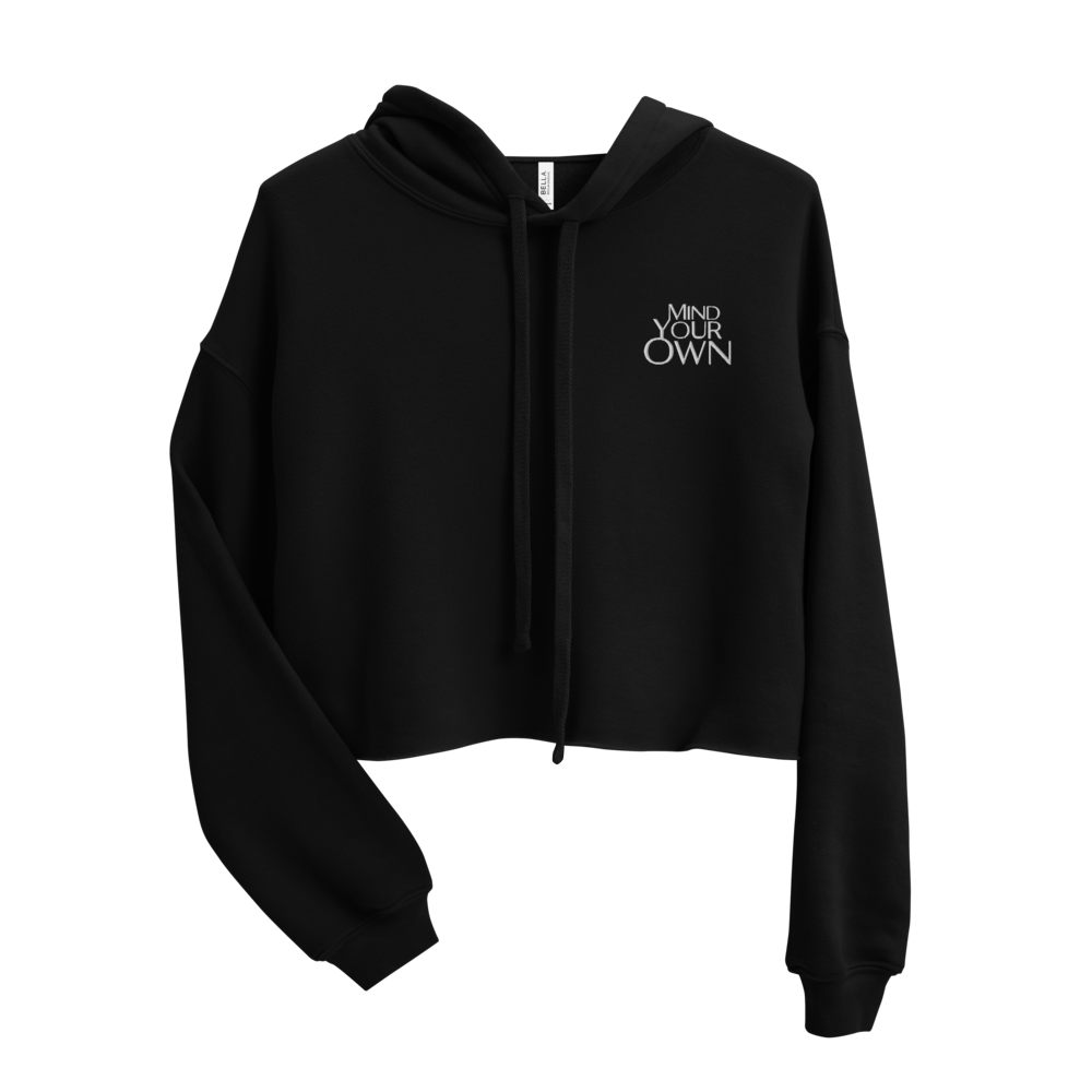Mind Your Own Stitched Crop Hoodie