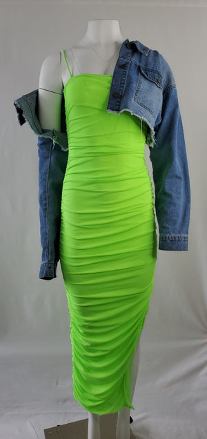 Ruched Neon Nights Lime Slit Dress