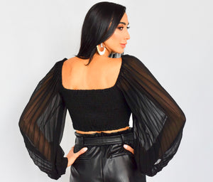 Chiffon Sleeve Crop Blouse