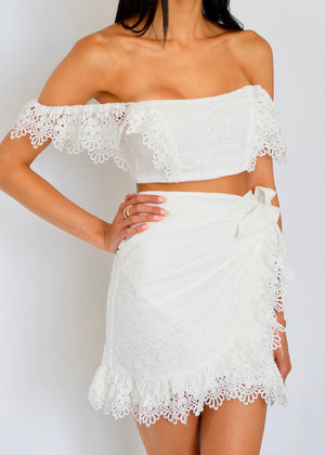 White Lace Two Piece Skirt Set