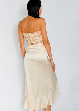 Z Champagne Dreams Ruffled High-Low Midi Pearl Skirt