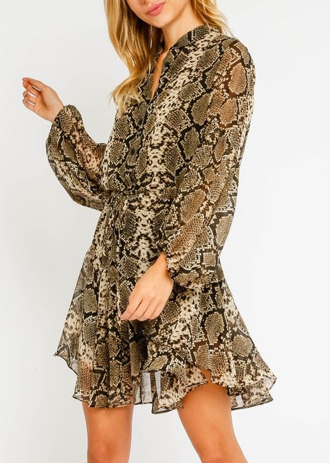 Drawstring Snake Ruffle Dress