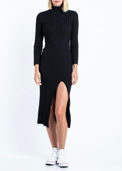 sweater dress with slit, black turtleneck dress
