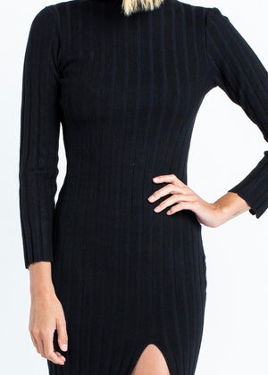 Black Ribbed Slit Bodycon Dress